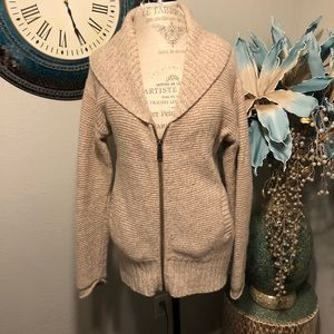 TNA Wool zipper front cardigan in beige
